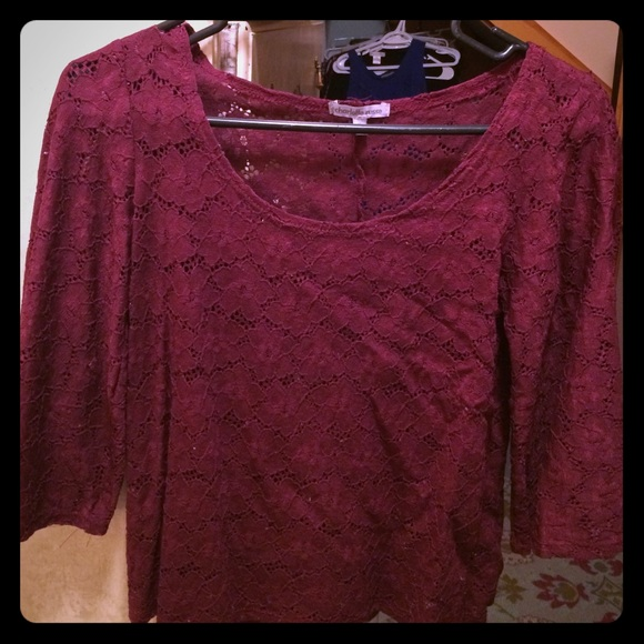 79 tops wine colored lace crochet flowy top from