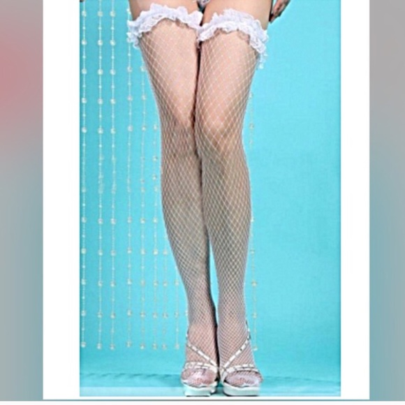 e088a88f2e821 Accessories | Pretty White Fishnet Thigh High Stockings Nwts | Poshmark