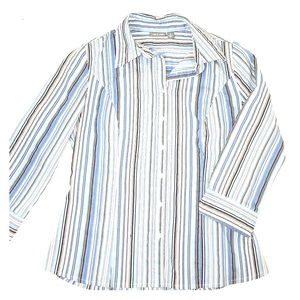 Apt. 9 Tops - Blue striped collared shirt