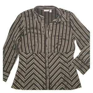 Apt. 9 Tops - Brown striped button up collared shirt