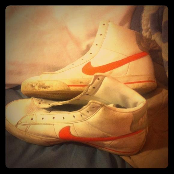 White Nike Hightops With Orange Swoosh