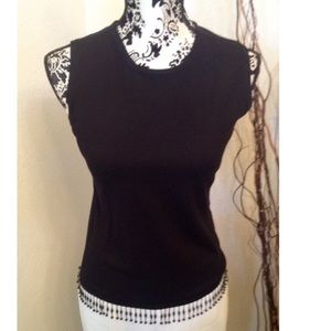 Bead fringe knit top