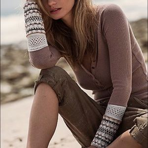 Free People Tops - 🚫Sold🚫Thermal Henley Crochet Cuff Sleeve