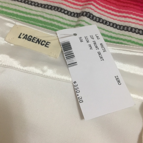 Lagence Skirts - New with tags white skirt with black zipper