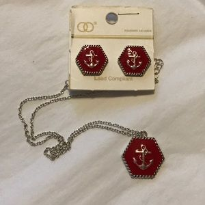 Jewelry - Silver tone and red anchor necklace set.