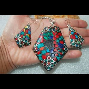 Gorgeous Huge Pendant & Earrings Multi Howlites