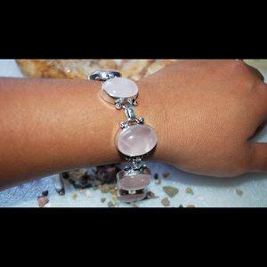 """Faceted Pale Rose Quartz Bracelet 7""""-7 1/2"""""""