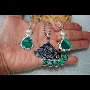 handmade & handcrafted gemstone jewelry Jewelry - Black Titanium Drusy & Howlite Pendant & Earrings