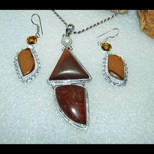 Large Calcite & Jasper Pendant & Earrings Set 925S