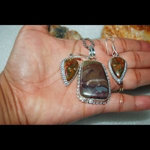 Earthy Bamboo & Ocean Jasper Pendant & Earrings