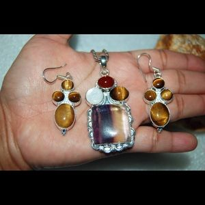 Large Fluorite,Tiger Eye,Pearl Pendant&Earrings