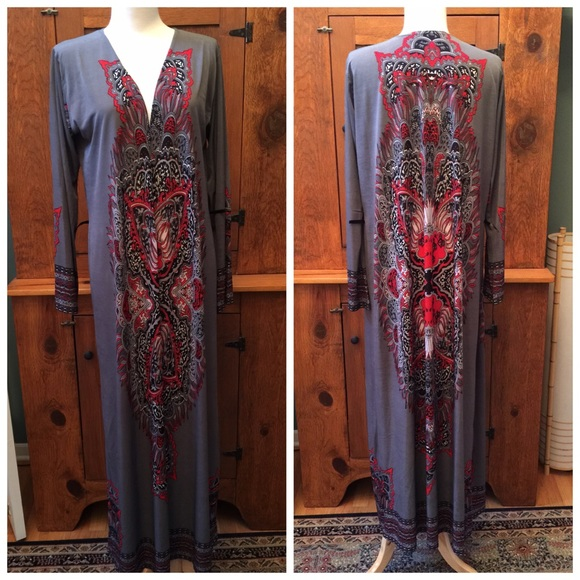 52% off Dresses & Skirts - Maxi cardigan abaya grey red print from ...