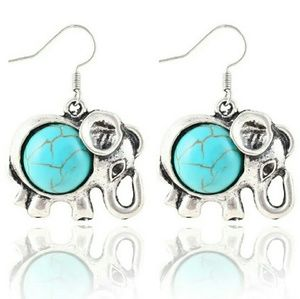 Turquoise and silver elephant dangle earrings