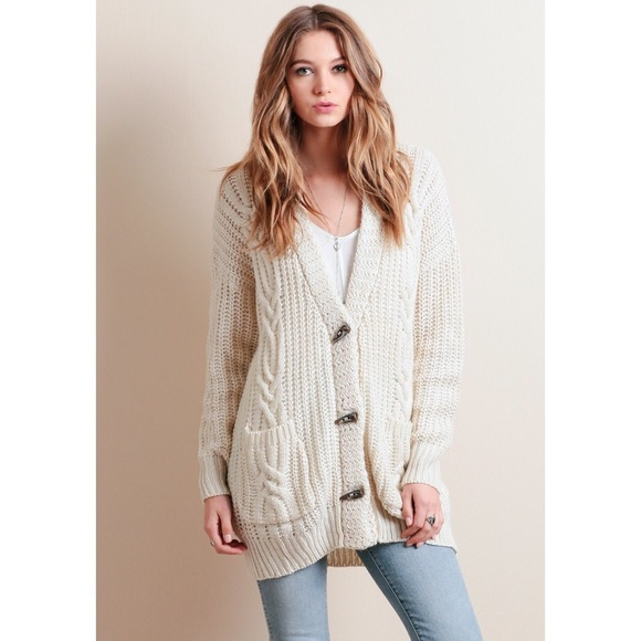 ❗️SALE❗️Cream Cable Knit Chunky Knit Cardigan 8b0fa0b82