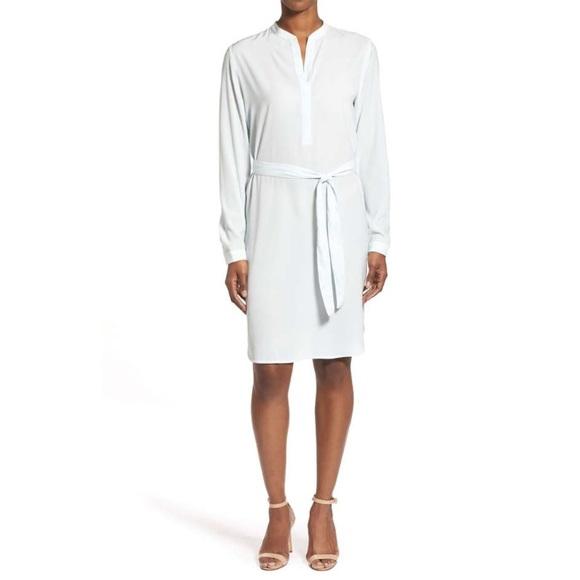 Halogen Dresses & Skirts - Belted Split Neck Crepe Shift Dress by Halogen