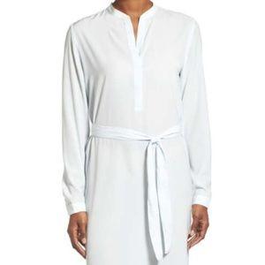 Halogen Dresses - Belted Split Neck Crepe Shift Dress by Halogen