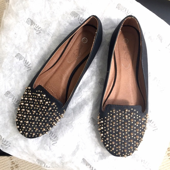 Shoes - Gold studded black statement flats