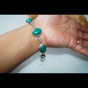 "handmade & handcrafted gemstone jewelry Jewelry - Green Onyx Statement Bracelet 8""Length"