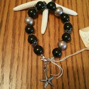 Jewelry - Black onyx& sterling silver bracelet/w starfish