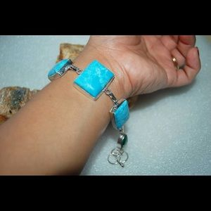 "Blue Howlite Statement Bracelet 8"" 925Silver"