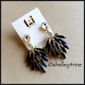 T&J Designs Jewelry - Black Feather Statement Earrings