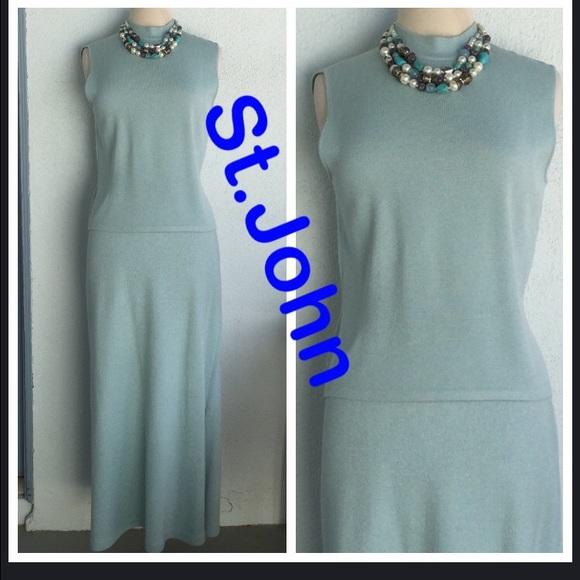 87a465b8650 St.John Evening Light Blue Top Skirt Size M 16