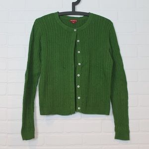 Green textured cardigan cable knit long sleeve