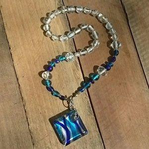 Teal and Cobalt Blue Necklace