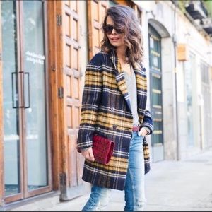 Zara Tartan Plaid Coat Size Small
