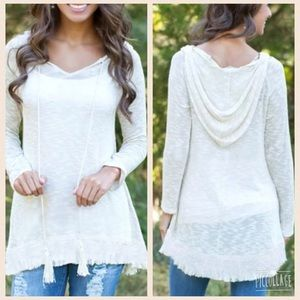 ❤️MOST WANTED❤️Gorgeous White Hi/Lo Hoodie!! NEW!!