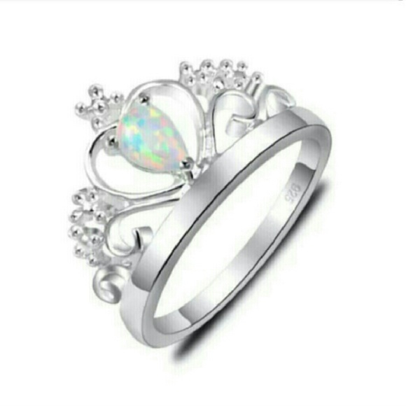 Black Crown Ring With Opal