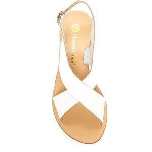 Chase& Chloe white sandals