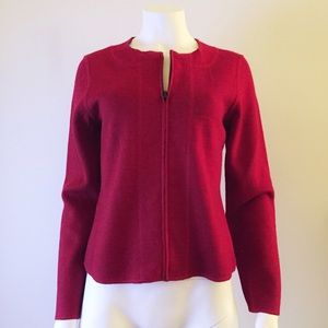 Red Wool Roomy Front Zipper Jacket