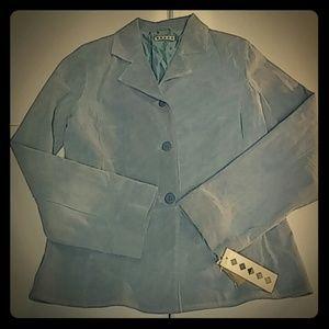 Jackets & Blazers - Blue suede leather blazer jacket size M nwt