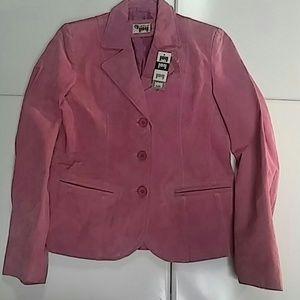 Jackets & Blazers - Pink suede leather blazer jacket size M nwt