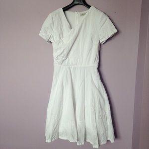 White cotton knee length dress