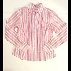 J. Crew Tops - Pinstripe ruffle collared shirt