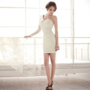 Dresses & Skirts - White Lace One-Shoulder Dress