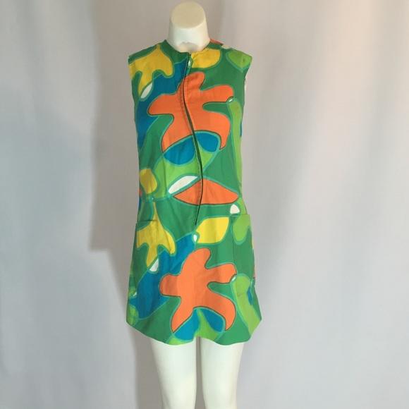 1960/'s Vintage Hawaaiin Print Dress Vintage Tiki Dress