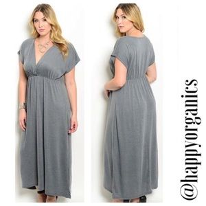 Gray Empire Waist Maxi Dress