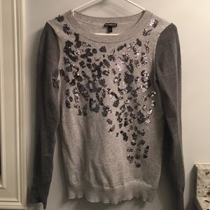 Express gray sweater.