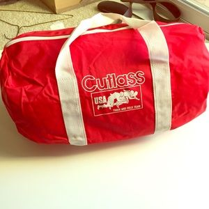 Vintage Red and White Duffel
