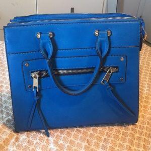 Beautiful Blue purse handbag bag gold hardware.