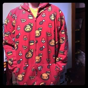 Tops - Red monkey hoodie with burgers bad fries!