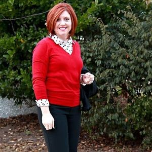 Red vneck sweater