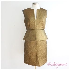 NWT DVF Textured Metallic Gold Peplum Dress