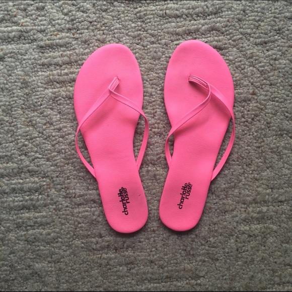 30f979552 Charlotte Russe Shoes - hot pink flip flops