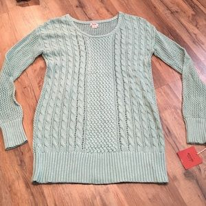 Cable knit Teal/turquoise long length Sweater