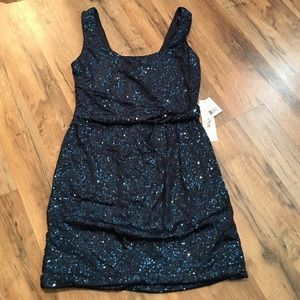 Navy and Teal Sequin Mini Dress