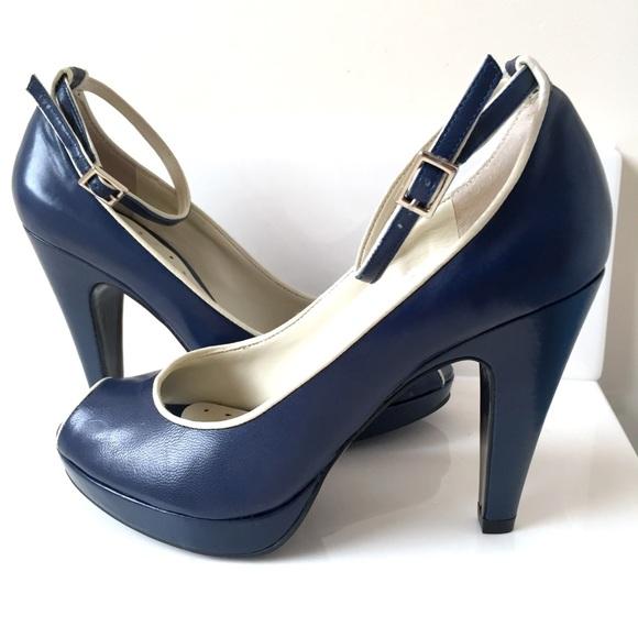 8dc566f1703 BCBGirls Shoes - BCBG Girls Blue Peep Toe Pumps Heels Shoes 6 36